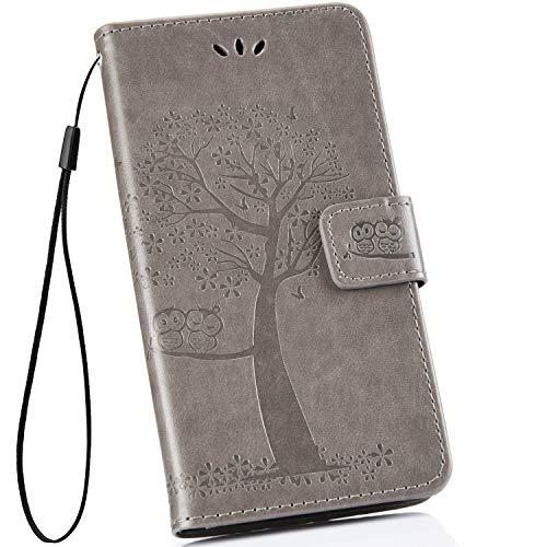 Ysimee kompatibel mit Samsung Galaxy S10 Hülle PU Kunstleder mit Kartenhalter und Faltbare Handy Tasche Wallet Flip Handyhülle mit Standfunktion Brieftasche Handy Schutzhülle, Baum- Grau