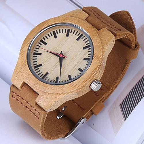 Uhren Fashion Persönlichkeit Kleine runde Zifferblatt Bambus Shell-Uhr mit Lederband Asun (Color : Color1)