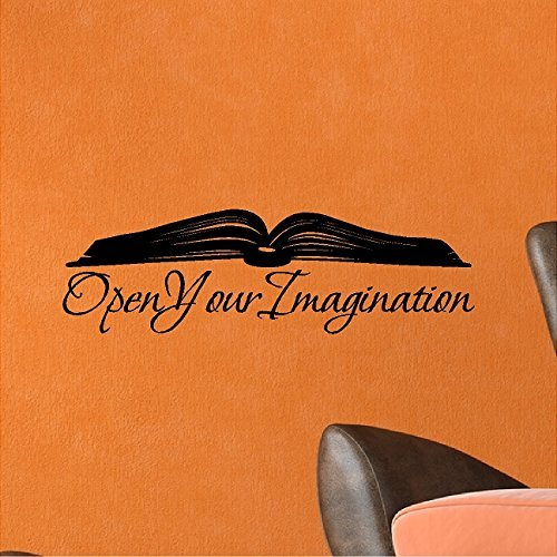 EYE CANDY SIGNS Open Your Imagination.Book Wall Decal Removable Book Wall Sticker Lettering Reading Words 7 x 22