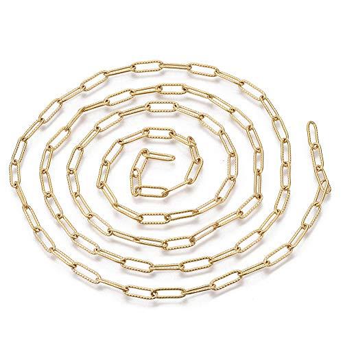 Cheriswelry Cadena de acero inoxidable de 1 m, 12 x 4 mm soldada dorada, cadena redonda plana para joyas, pulseras, pendientes, fabricación de mujeres y hombres