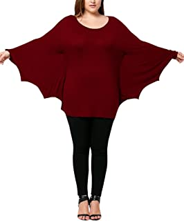 Chuanqi Womens Plus Size Halloween Tops Long Sleeve Batwing T Shirt Blouses Cosplay Costumes