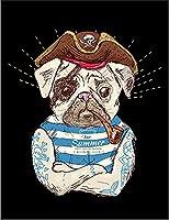 【フレンチブルドッグ 海賊 キャプテン いぬ 犬】 余白部分にオリジナルメッセージお入れします!ポストカード・はがき(黒背景)