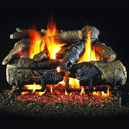 Best Bargain Peterson Real Fyre 30-Inch Charred American Oak Gas Log Set with Vented Propane ANSI Ce...
