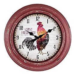 La Crosse Technology 404-3630 12 Inch Distressed Red Rooster Quartz Wall Clock
