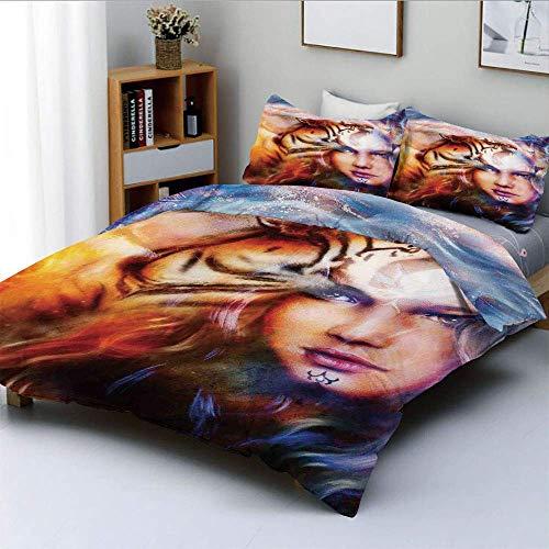 Qoqon Bettbezug-Set, Mächtiger Tiger- und Löwenkopf mit Frauengesicht auf dekorativem HintergrundDekoratives 3-teiliges Bettwäscheset mit 2 Kissenbezügen, Gelbbraun-Blau, Kinder und Erwa