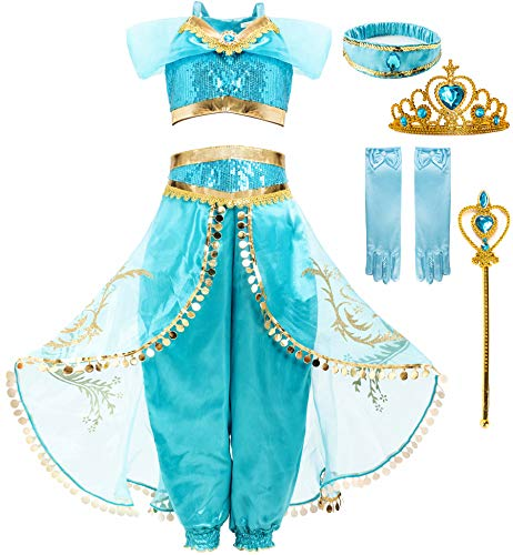 FUNNA Costume for Girls Princess Kids Dress Up Outfit Party Supplies with Accessories, 4T Blue
