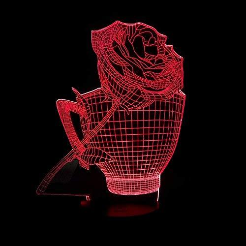 Dightyoho Lámpara Escritorio Taza Rosa LED Color de luz Degradado 3D estéreo táctil Remoto USB luz de Noche mesita de Noche Decorada con imaginación Regalo de Cumplea?os 20 * 13 cm