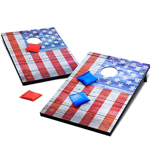 Refinery and Co. Vintage Americana Deluxe Bean Bag Toss Set, Complete Cornhole Game, Best Picnic & BBQ Target Sport, 2 Folding Targets, 8 Premium Bean Bags in 2 Colors, Easy Storage, Family Fun