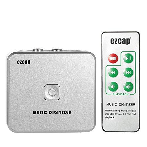 Docooler Audiorekorder EZCAP Audio Capture Recorder Musik Digitizer mit 3,5 mm und RCA IN Ports Speichern auf SD Karte USB Scheibe als MP3-Datei mit Fernbedienung