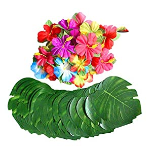 DaMohony Artificial Hibiscus Flowers Jungle Party Decorations Artificial Tropical Plant Leaves 30Pcs Leaves And 24Pcs Flowers