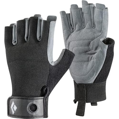 Black Diamond CRAG HALF-FINGER GLOVES, Robuster Halbfinger-Handschuh zum Klettern, Sichern, Abseilen, Arbeiten und für Klettersteige, Black, Gr. Extra Large