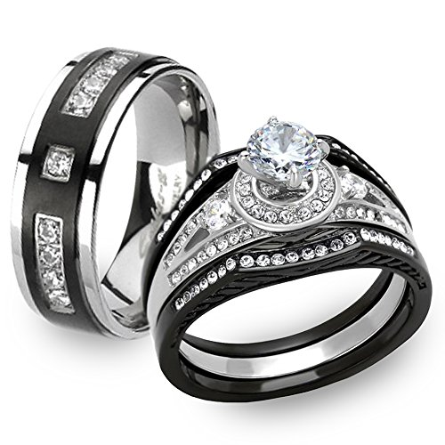 Marimor Jewelry Black & Silver Stainless Steel & Titanium His & Her 4pc Wedding Ring Band Set Size Women's 05 Men's 05