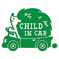 imoninn CHILD in car ステッカー 【パッケージ版】 No.37 ハリネズミさん (緑色)