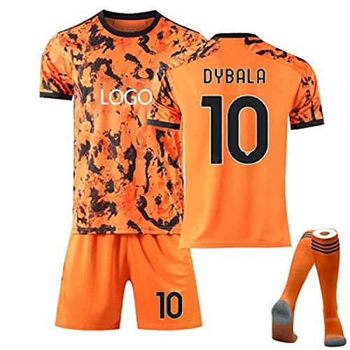Jungen und Mädchen Erwachsene Fußballuniform, 2021 Dybala # 10 Ronaldo # 7 Jersey T-Shirt, Fußballtrikot + Shorts + Socken Orange 10-26