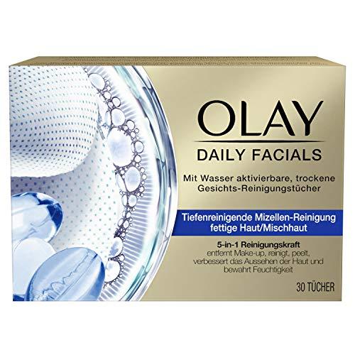 OLAY Daily Facials Reinigungstücher für fettige Haut/Mischhaut, Mit Wasser Aktivierbare, Trockene Gesichts-Reinigungstücher , 5-in-1 Gesichtspflege, Abschminktücher, Gesichtsreinigung, Peeling