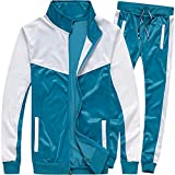 MACHLAB Men's Casual Tracksuit Long Sleeve Full-Zip Running Jogging Sports Jacket and Pants Light Blue#57 L