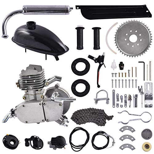 WIUANG Bicycle Engine Kit, 80CC 2 Stroke Motorized Bicycle Kit, DIY Upgrade Electric Pedal Bicycle Conversion Kit for 24', 26' 28' Wheeled Bicycle with V-Frame, Silver (Silver)