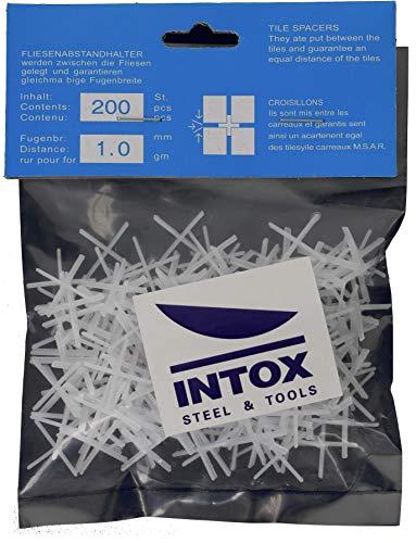 INTOX - Crucetas para azulejos (1,0 mm, 200 unidades, 1 mm de ancho), color blanco