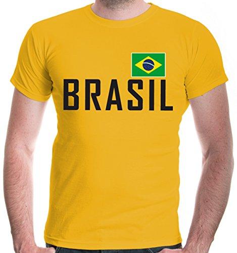 buXsbaum Herren T-Shirt Brasilien | Brasil Brazil Amerika Ländershirt Fanshirt Flagge Trikot Reise | L, Gelb