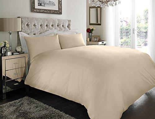 Sapphire Collection 100% Egyptian Cotton Duvet Quilt Cover & Pillowcase Bedding Set (Cream, King)