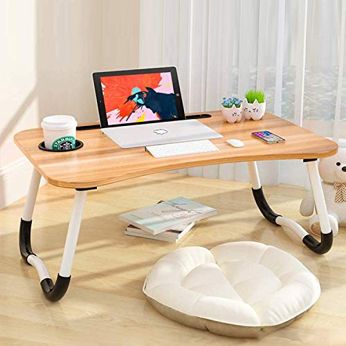 Qwarty Multi-Purpose Laptop Table with Cup/Mug Holder, Bed Breakfast Table, Laptop Table/Study Portable Table/Ergonomic & Rounded Edges/Non-Slip Legs/Writing Desk (Wooden, Brown)