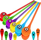 Halloween Egg and Spoon Race Game Set - Halloween Party Favors- 6 Eyeballs and Spoons with Assorted Colors for Kids and Adults Halloween Indoor Outdoor Fun Games, Party Supplies, Classroom Activities