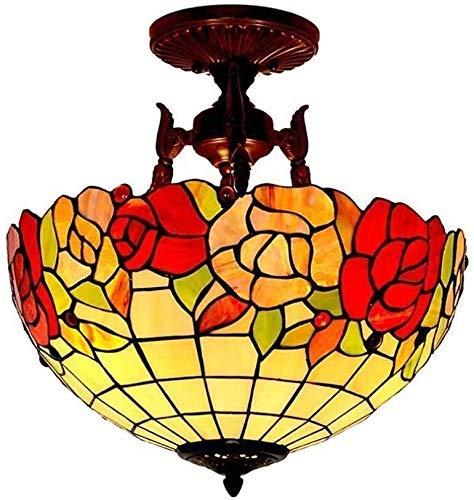BBZZ Lámpara de techo, Tiffany Lámpara de Techo Pastoral Tiffany Lámpara de Diseño Vintage Vidrieras Pantalla Para Sala Dormitorio Comedor Iluminación Retro Interior,Styler
