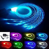 16W RGBW Fiber Optic Curtain Light Kit, Flash Point Waterfall Effect Lighting Kids Children Sensory Room Home Decoration 0.03in/0.75mm 9.8ft/3m 300pcs