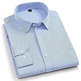 Camisa Hombre Manga Larga,Camisa A Cuadros De Algodón Camisas Casuales Rayas Azules Clásicas Camisas Regulares para Hombre con Bolsillo Botones con Botones Padre Novio, S