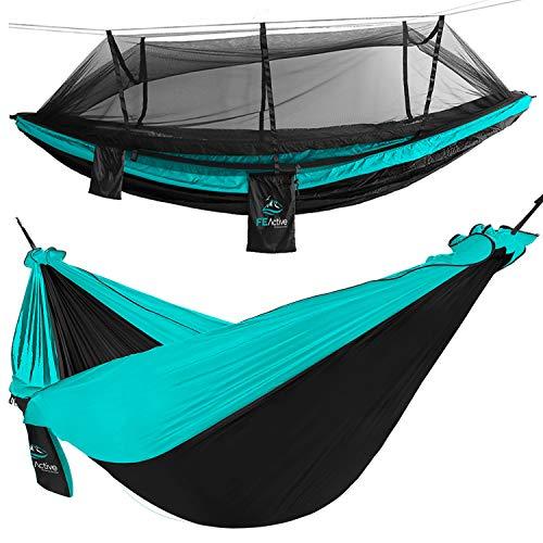 FE Active Hamaca para Acampar al Aire Libre - Hamaca Doble o Individual con Mosquitera Hamaca Colgante para Arbol, Hamaca de viaje, Hamacas de Jardín, Kit de Supervivencia | Diseñado en California