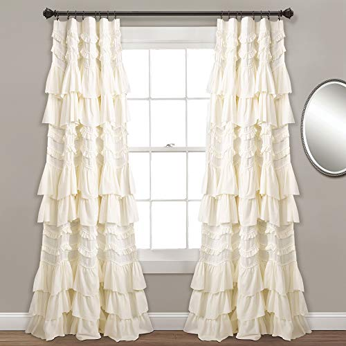 "Lush Decor Kemmy Curtain | Ruffled, Textured Shabby Chic Style Window Panel for Living, Dining Room, Bedroom (Single), 84"" x 52"", Blush"
