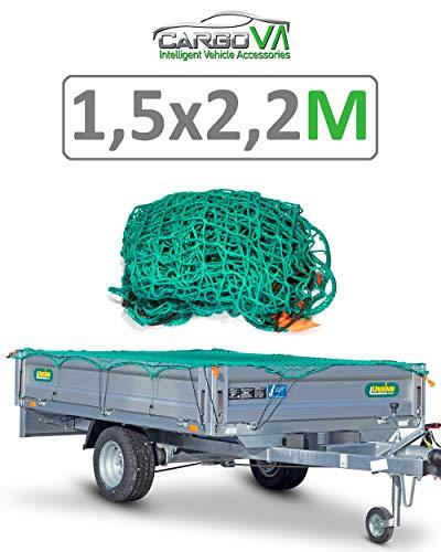 CargoVA® Intelligentes Anhängernetz 1,5x2,2M - Hängernetz mit Gummiseil und Eckenmarkierung - zur perfekten Ladungssicherung