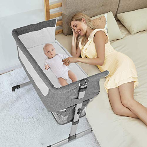 Baby Beside Crib Bassinet Mingyall Bedside Sleeper Crib with Storage Basket Foldable Arms Reach Co Sleeper Portable Baby Bed to Bed with 6 Adjustable Positions for Newborn and Infant Gray