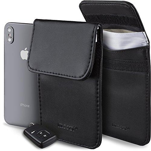 Moozy Anti Diefstal Keyless Auto Sleutel Beschermer Hoesje, RFID blokkeringstas – Zwarte Signaal Blokkerende Zak Etui voor Sleutel, Mobiele Telefoon