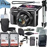 Canon PowerShot G7 X Mark II Digital Camera 20.1MP Sensor with 2 Pack SanDisk 128GB Memory Card + Case + Full Size Tripod + A-Cell Accessory Bundle (Black)