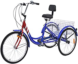 VANELL Adult Tricycle 7 Speed Three Wheel Trike Bike Cruiser Adult Trikes Low Step-Through W/Large Size Basket for Women Men Shopping Exercise Recreation (red&White&Blue, 24in Dia.Wheels)