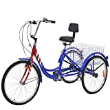 ABORON Adults Tricycle 24/26 inch 7 Speed Cruiser Trike 3 Wheels Bike with Large Basket for Shopping Picnic Outdoor Sports Men Women (Flag, Dia. 24' Wheels)