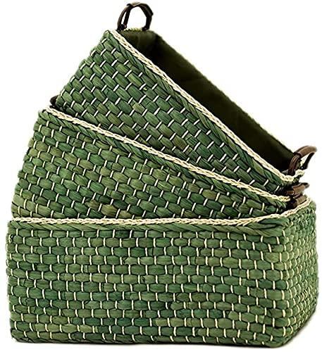 ZHBH Juego de 3 cestas de Almacenamiento Tejidas, Bandeja de Servir de Pared Alta Rectangular de maíz Natural Tejida a Mano con Asas para decoración, Picnic, Bolsa de Playa, Cesta de la Compra, o
