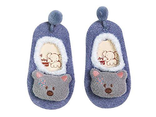 DEBAIJIA 2 Pares Bebé Calcetines 12-36 Meses Antideslizante Primavera Otoño Recién Nacido Dibujos animados Piso Calcetin oso