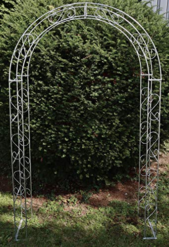 terracotta24 Rosenbogen Rund aus Metall stabil, Vollmaterial, Feuerverzinkt Breite 140cm, Höhe 245cm, Tiefe 40cm, Rankgitter