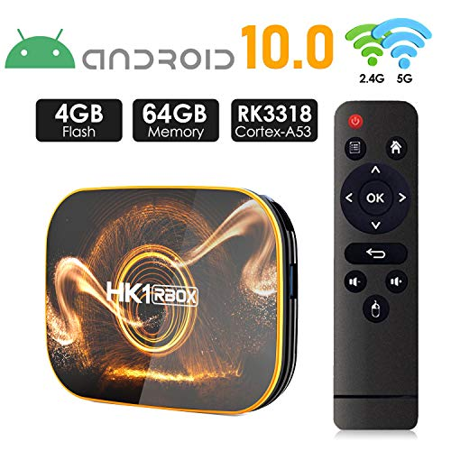 Android 10.0 TV Box 【4GB RAM 64GB ROM】 HK1 Ultra HD 4K Smart TV Box RK3318 Quad Core de 64 bits con Dual-WiFi 2.4G / 5.0G / BT 4.0 / 3D / H.265 / USB 3.0 TV Box Android Media Player