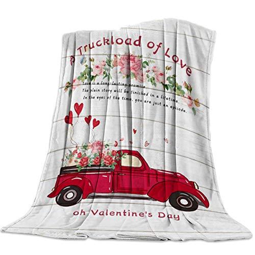 AEMAPE Manta de Tiro para sofá Cama, un camión Cargado de Amor Flores florecientes Tablero de Madera Vieja Retro - Manta de Viaje Ligera y cálida 50 'x 60'