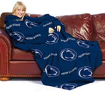 NCAA Penn State Nittany Lions Comfy Throw Blanket with Sleeves  Repeat  Design
