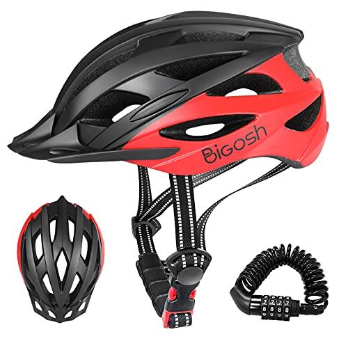 BiGosh Casco Bicicleta Adulto, Ajustable Casco Bicicleta Carretera Ultraligero Casco Ciclismo Montaña Casco Bicicleta con Visera y Candado de Bicicleta para Unisex Hombre Mujer Certificado CE 57-61CM