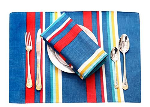 Ruvanti - Manteles individuales para mesa de comedor, tela 100% algodón, Verde azulado (Teal Stripe)