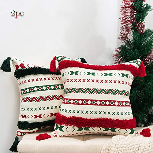 Farmhouse Christmas Throw Pillow Cover set 2, Boho Accent Green Red Tufted Tassel Cushion Cover, Cotton Woven Merry Winter Holiday Decorative Vintage Square Pillow Case for Sofa Couch Bedroom 18'x18'