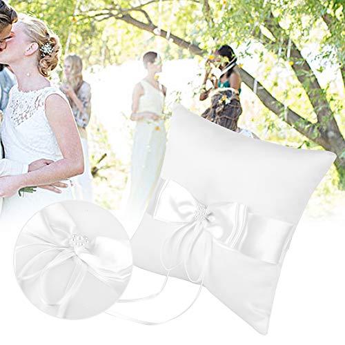 AUNMAS Wit satijnen bowknot ring houder kussen met simulatie parel trouwring kussen bruiloft verlovingsfeest accessoires simulatie parel trouwring kussen satijnen linten boog knoopdecoratie