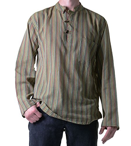 KUNST UND MAGIE Fischerhemd Kurtha Gestreift Überzieher Hemd Poncho Mittelalter Nepal, Größe:S, Farbe:Grün