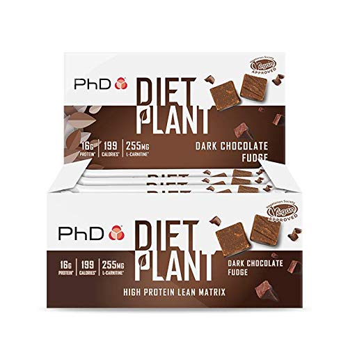 PhD Nutrition Diet Plant Protein bars- Dark Chocolate Fudge (Box of 12 Bars)