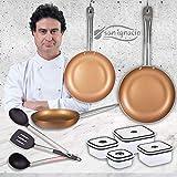 San Ignacio Copper Plus Set 3 sartenes + 4 fiambreras + 3 Utensilios, Aluminio Prensado, Multicolor, 20-24-28 cm